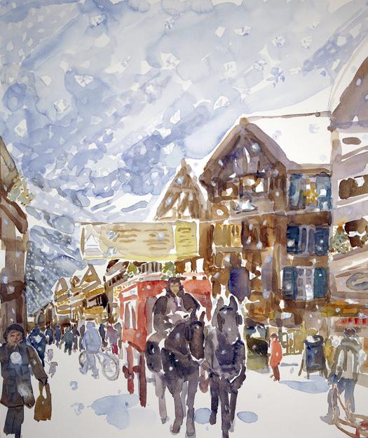 ski skiing painting Alps zermatt mont cervin carriage two horse