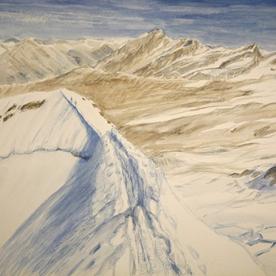 Summit of Castor looking towards the Dom and Tashhorn August Zermatt - watercolour on paper 55 x 75 cm £675