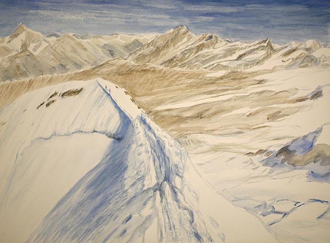 Casotr italina haute route alpine mountain painting alps