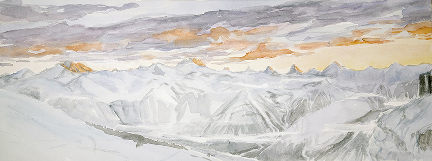 View from Berghotel Wildstrubel at the Gemmi Pass  1st stage of watercolour 28 x 75 cm blocking composition and tones of sunset with Payne's grey and orange cadmium and naples yellow
