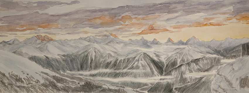 View from Berghotel Wildstrubel at the Gemmi Pass of 4000 metre Swiss peaks - 2nd stage adding colour in snowy flanks of mountains