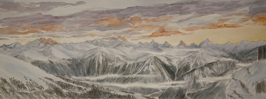 View from Berghotel Wildstrubel at the Gemmi Pass of 4000 metre Swiss peaks -  3rd stage of watercolour 28 x 75 cm articulating trees in foreground on left slope, clarifying horizon and sunset tones