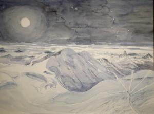 italian haute route spaghetti tour painting alps liskamm moon