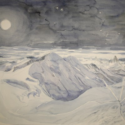 Sweep of moonlight on Lyskamm and headlamps of climbers - watercolour on paper 55 x 75 cm £600