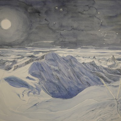 8th stage More detail in shadow of Liskamm deepening the blue with ultramarine, adding white glow of hanging glaciers, shadow heightened in crevasses in left foreground