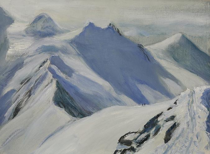 spaghetti tour Italian haute route glacier alpine painting