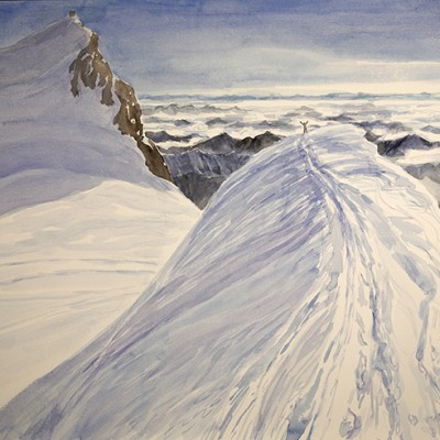 italian haute route spaghetti tour painting alps summit ridge parrotspitze italy