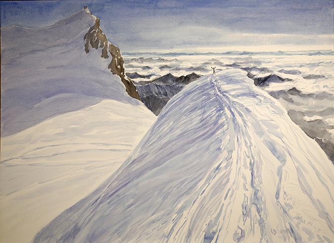 italian haute route spaghetti tour painting alps summit ridge parrotspitze italy