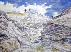Alps painting felsen meer Prafleuri Hut