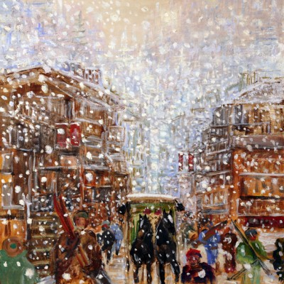 Snow Falling on Bahnhofstrasse - oil on hardboard 61 x 61 cm SOLD