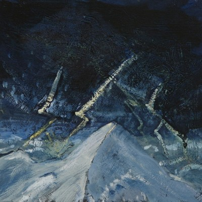 lightning in the Alps alpine painting