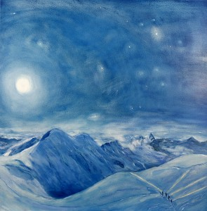 full moon liskamm matterhorn italian haute route spaghetti tour skiing painting alps