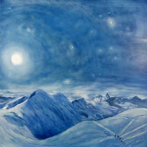 Climbers Crossing the Glacier under a Full Moon, Liskamm and Matterhorn - oil on MDF board 60 x 60 cm £1600 framed