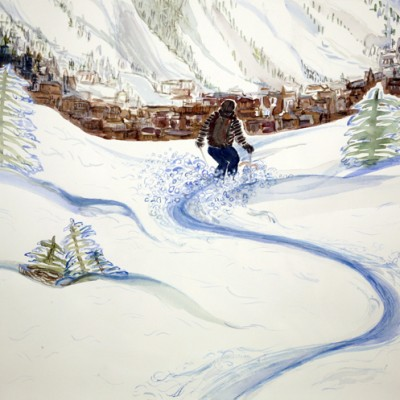 Watercolour donated to auction in 2014 for UK based Charity Snow Camp