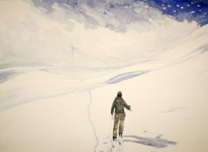 Lotschental following fox trail ski skiing painting Alps