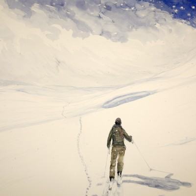 Slice of Heaven, the Guide Following the Trail of the Fox - watercolour on paper 55 x 75 cm £600