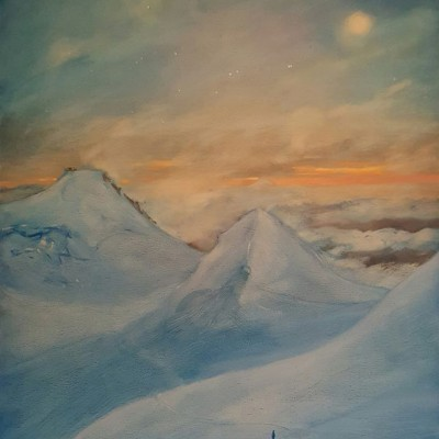 Oil on panel of Journey to Moon and Stars above the Margheria Hut on Italian Swiss border