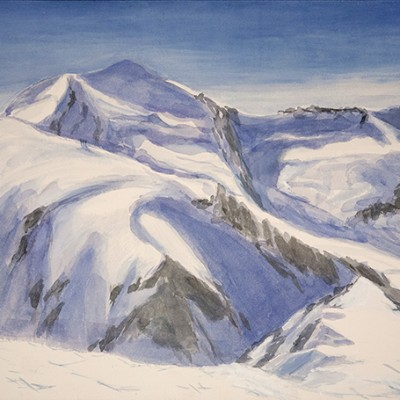 View from Summit of Roccia Nera to the twins Pollux and Castor  Zermatt Switzerland  - watercolour on paper 35 x 55 cm £425 unframed