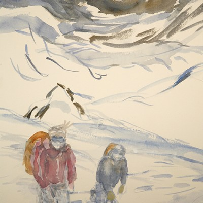 Prelimary sketch of climbers in foreground , changed to smaller figures to emphasis vastness of landscape