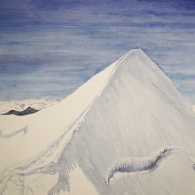 Climber on Summit of Castor Valais Alps Switzerland - watercolour on paper 55 x75 cm £600