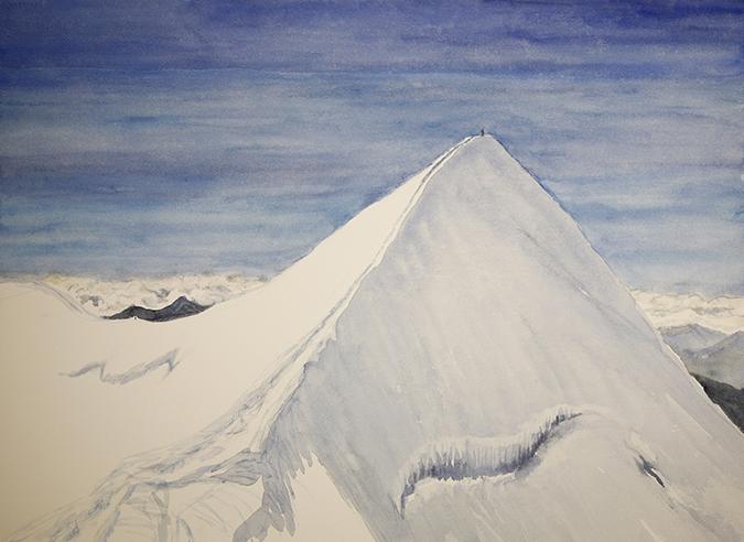 summit of castor ridge italian haute route spaghetti tour painting alps