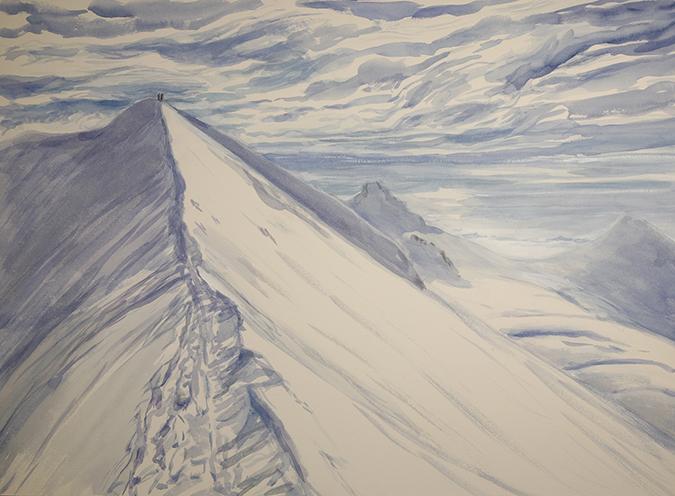 italian haute route spaghetti tour painting alps il naso di Liskamm italian haute route