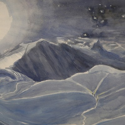 Climbers Crossing the Glacier under a Full Moon, Liskamm and Matterhorn - watercolour 36 x 56 cm  £475