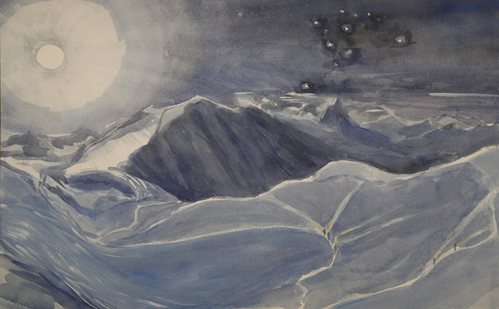 italian haute route spaghetti tour painting alps full moon liskamm climbers