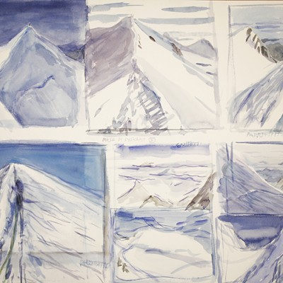 Storyboard of 8 Views of the Italian Haute Route - watercolour 55 x 75 cm £400