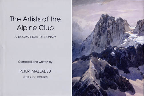 Entry on my art work on Page 234 - Proceeds from the sale of this book will go to the Alpine Club Conservation and Development Fund.  Compiled and written by Peter Mallalieu AC Keeper of Pictures  Copies are available from: The Alpine Club 55 Charlotte Road London EC2A 3QF - admin@alpine-club.org.uk