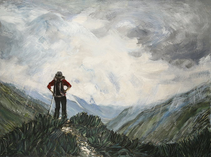 Alps painting Argentiere Chamonix Bossons skiing painting ski Alps