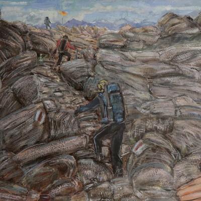 Alps oil painting haute route felsen meer col du prafleuri