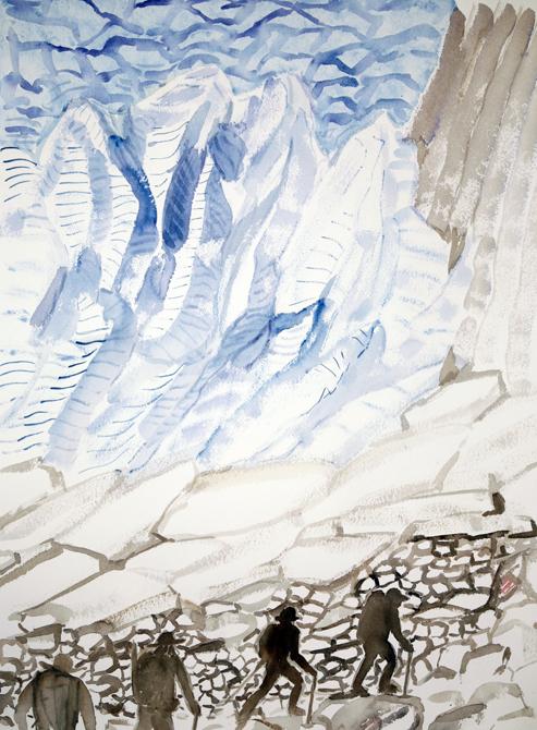 walkers haute route alps painting watercolour Stockji Glacier