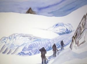 walkers haute route alps painting watercolour mont mine glacier
