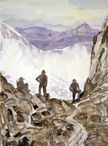 walkers haute route alps painting watercolour Col de la Chaux