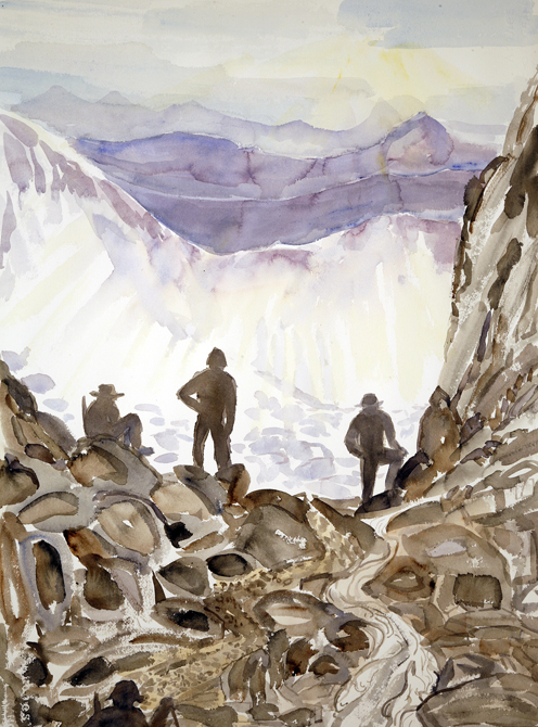 walkers haute route alps painting watercolour Col de la Chaux