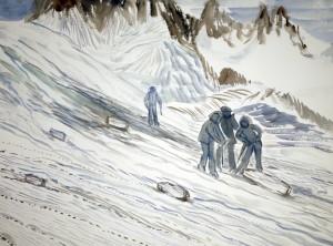 walkers haute route alps painting watercolour