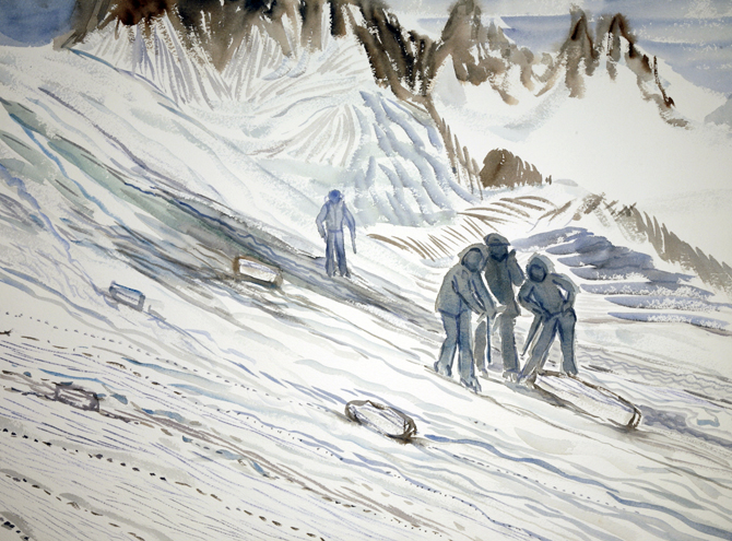 walkers haute route alps painting watercolour