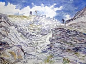 watercolour mountain painting haute route