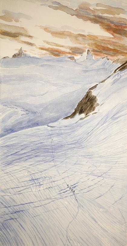 Alps painting watercolour haute route Mont mine glacier Arolla