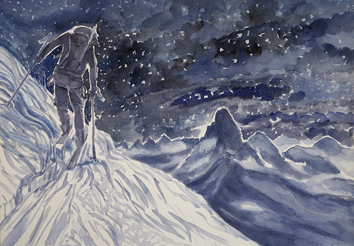 alpine painting Matterhorn skiing