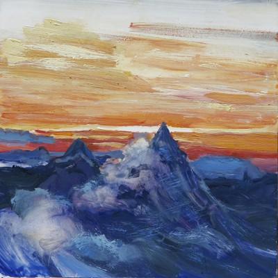 sunset matterhorn alpine painting alps
