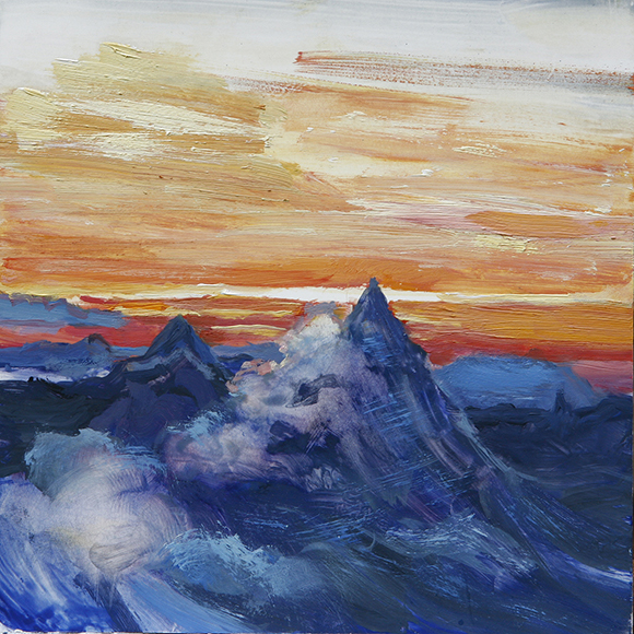 sunset matterhorn alpine painting alps