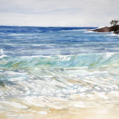 Turning Wave - Tea Tree Bay in Noosa Queensland  - watercolour on paper 55 x 75 cm £575