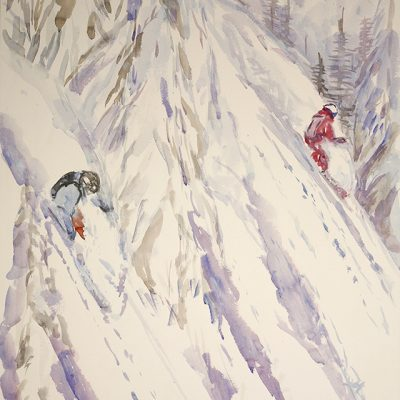 Skiing in Canadian Mountains, Sketch for largest watercolour I have done yet at 4 foot by 10 foot - approximately 120 cm x 300 cm