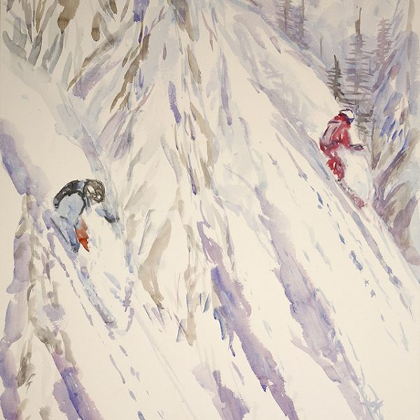 Skiing in the Trees Canadian Mountains - watercolour on paper 78 x 47 cm £500