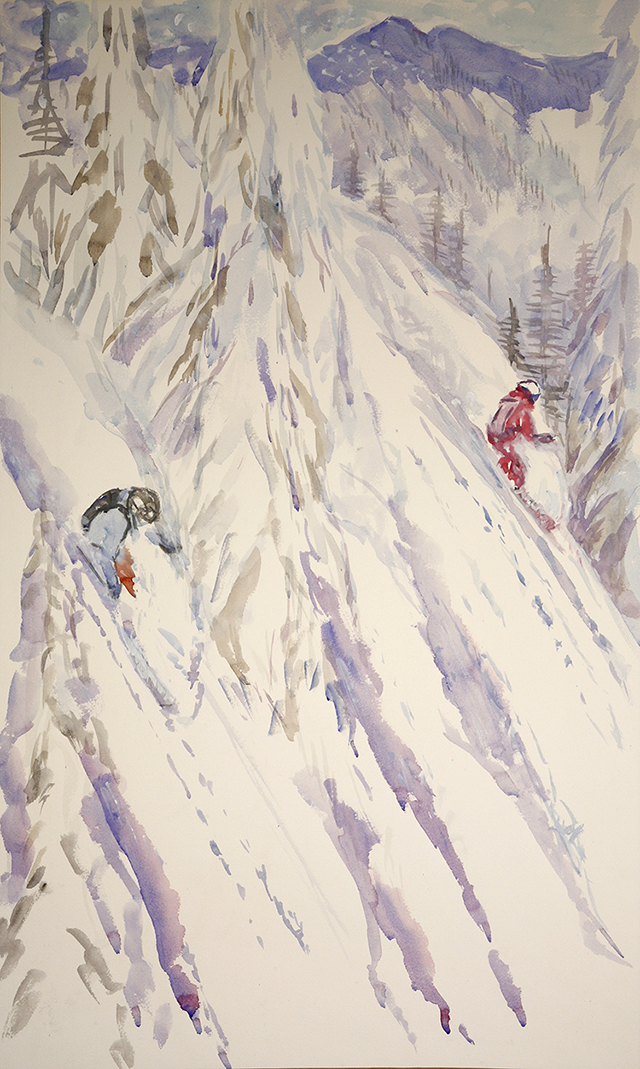 deep powder Canada trees alpine painting watercolour