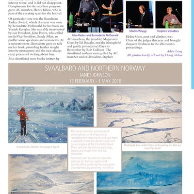 Svalbard and Northern Norway - at the Alpine Club in London February  13 to May 1 2018