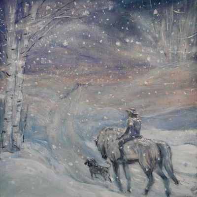 The Way Home in the Snow - oil on birch panel 50 x 50 cm framed £875