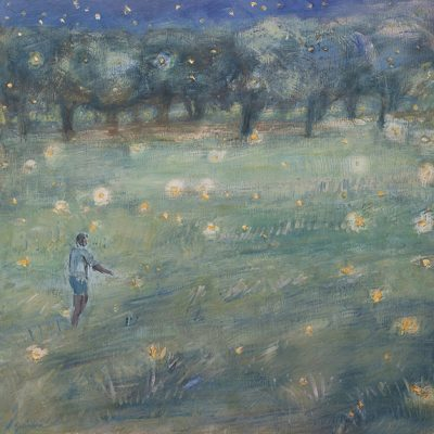 Fireflies Above the Field - oil on birch panel 50 x 50 cm framed £925